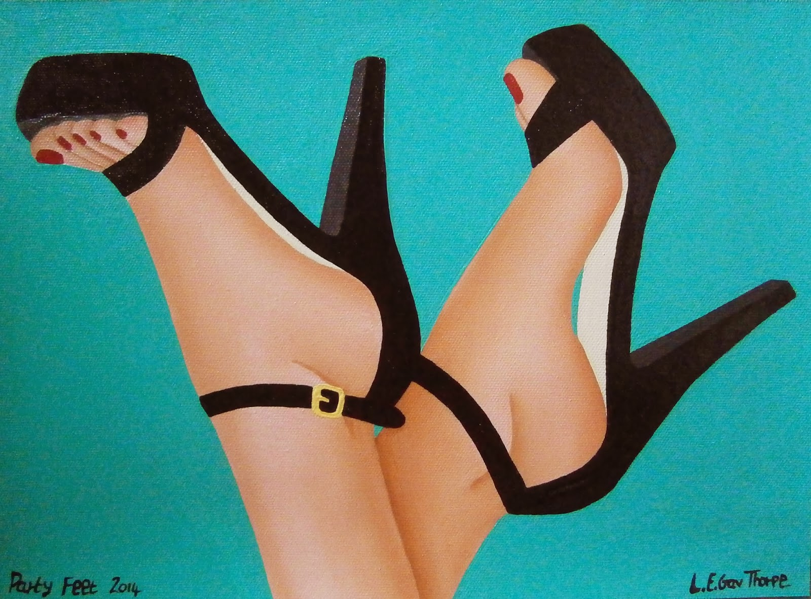Party Feet - A painting of a woman's feet wearing black two strap high heel sandals