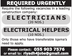 REQUIRED URGENTLY ELECTRICIANS VISA NOT THERE JOB IN KSA 23.01.2017