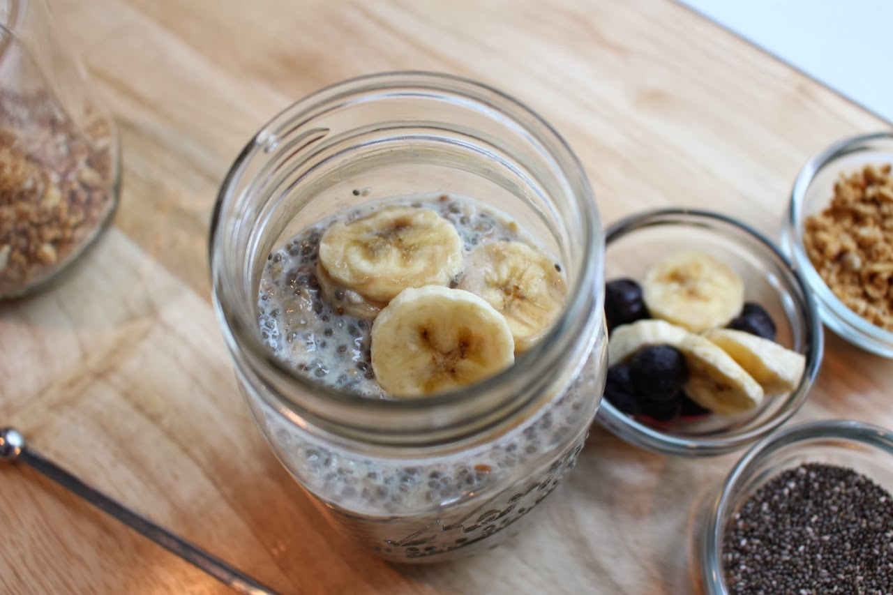 chia seed overnight oats in a jar