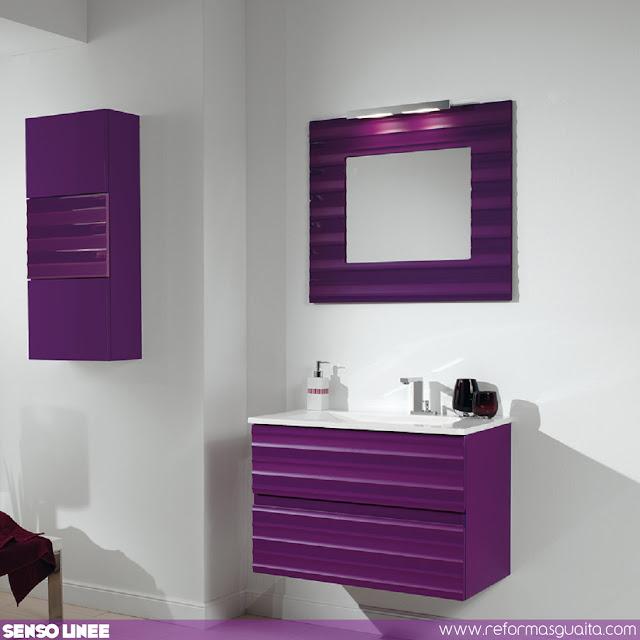 mueble baño malva lila morado laca alto brillo berenjena