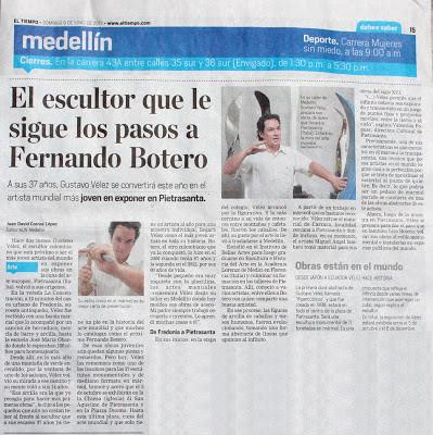 Periódico El Tiempo. El escultor que le sigue los pasos a Fernando Botero
