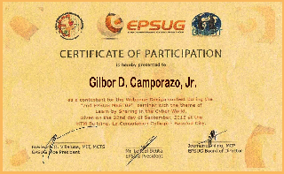 EPSUG certificate of participation