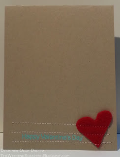 Handmade card using felt, sewing technique and My Favorite Things Valentine stamp