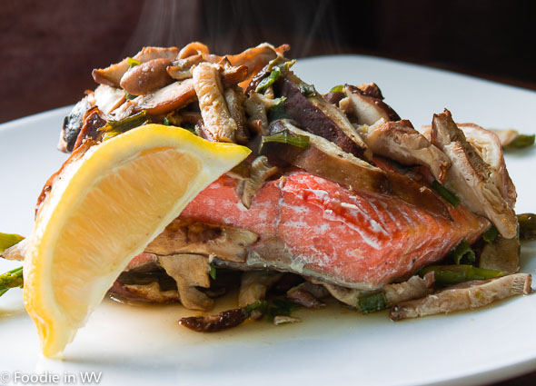 Click for Recipe Wild Salmon, Asparagus, and Shiitakes