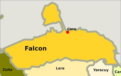 Mapa del estado Falcón Venezuela