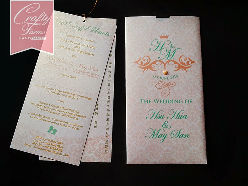 peach and mint handmade wedding card with logo