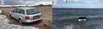 Ένα Audi A6 παρασύρεται από τα κύματα της θάλασσας