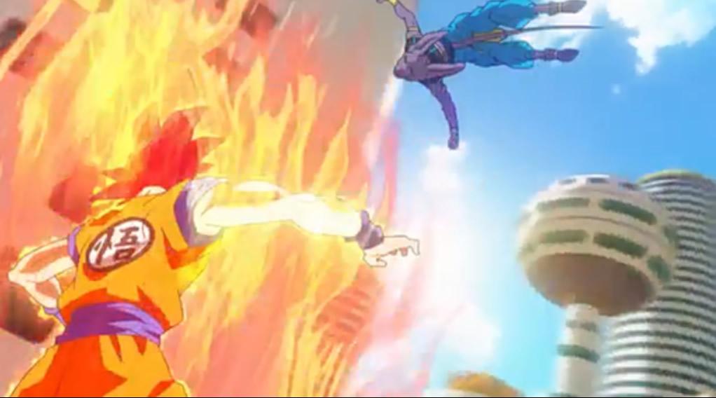 Aerial battle of Goku and Bills