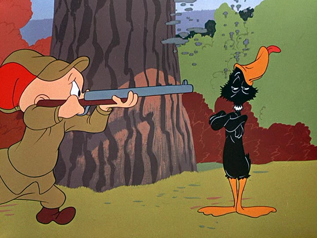 Elmer Fudd Duck Season http://fartoonsblog.blogspot.com/2011/06/3-greatest-cartoons-of-all-time.html