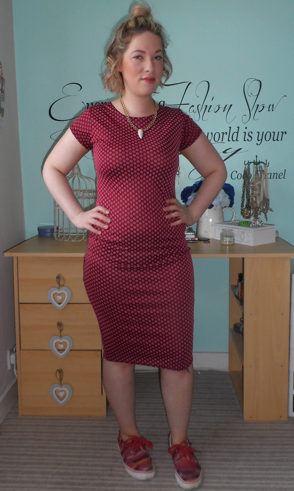 Burgundy Midi Dress; New Look Necklace; Aztec Skaters