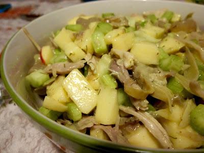 insalata di pollo, mele e sedano