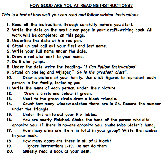 Following Directions Worksheet Trick – Following Directions Worksheet