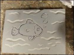 fish drawn on styrofoam