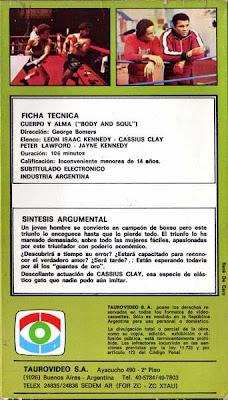 Cuerpo y Alma VHS de Tauro Video 2