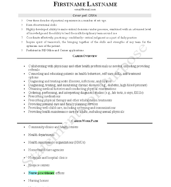 Resume for crna school application