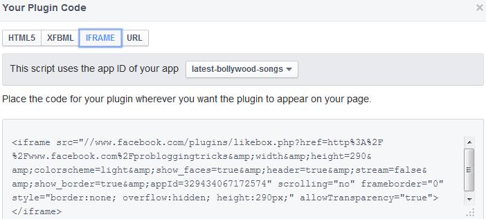 Facebook like box for blogger