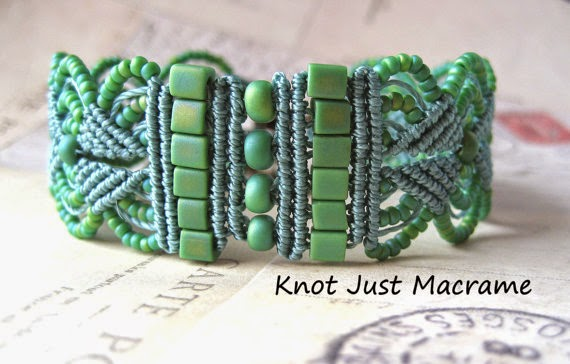 Leaves Micro Macrame Bracelet done in Sage colorway.