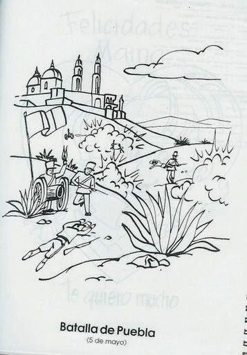 Para colorear - 5 de mayo Batalla de Puebla