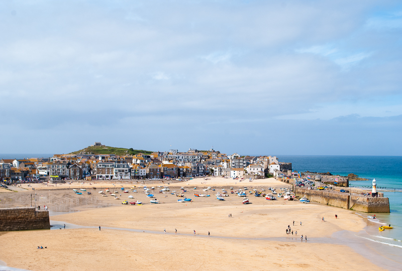 St ives the island in the background and its beach in the foreground west cornwall, england, UK
