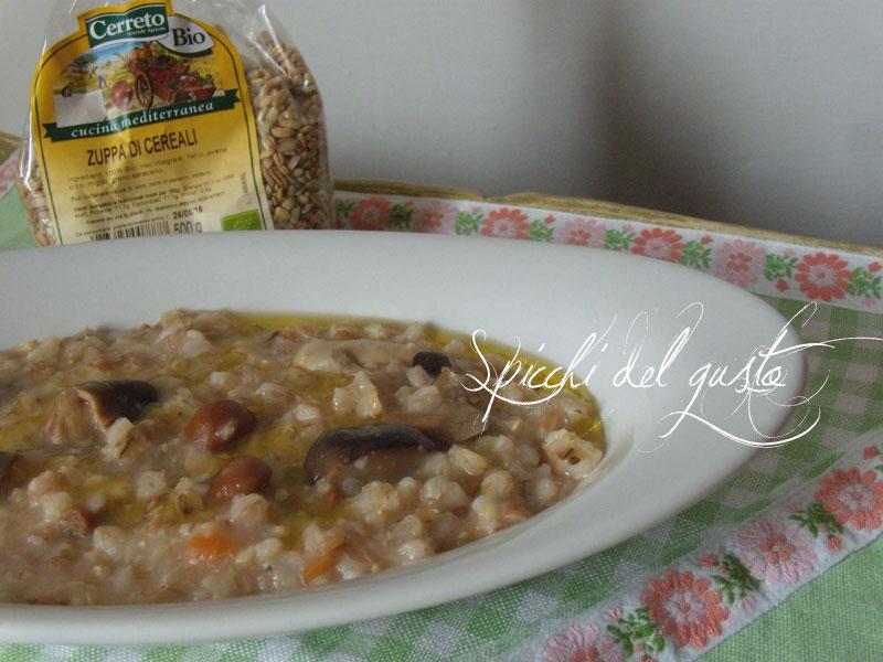 Zuppa di cereali con funghi misti