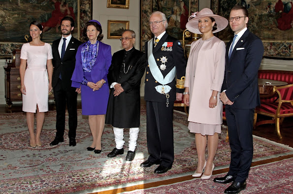 King Carl Gustaf and Queen Silvia, Crown Princess Victoria and Prince Daniel, Sofia Hellqvist and Prince Carl Philip, President Shri Pranab Mukherjee of India