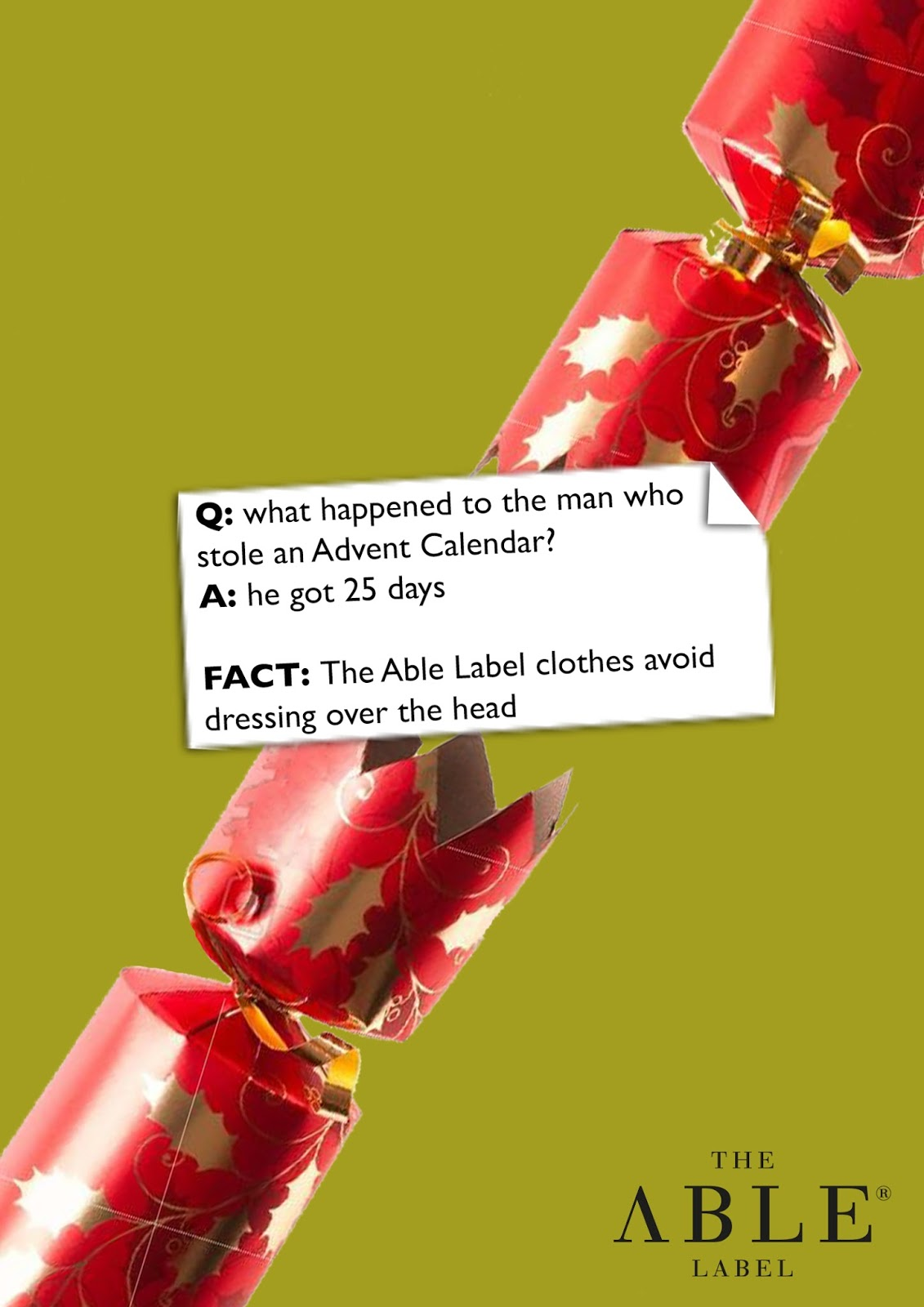 The Able Label: YOU CRACKER ME UP - 12 JOKES & FACTS OF CHRISTMAS