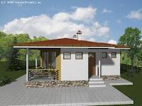 diseño de casa sencilla un piso con base del cimiento con piedras