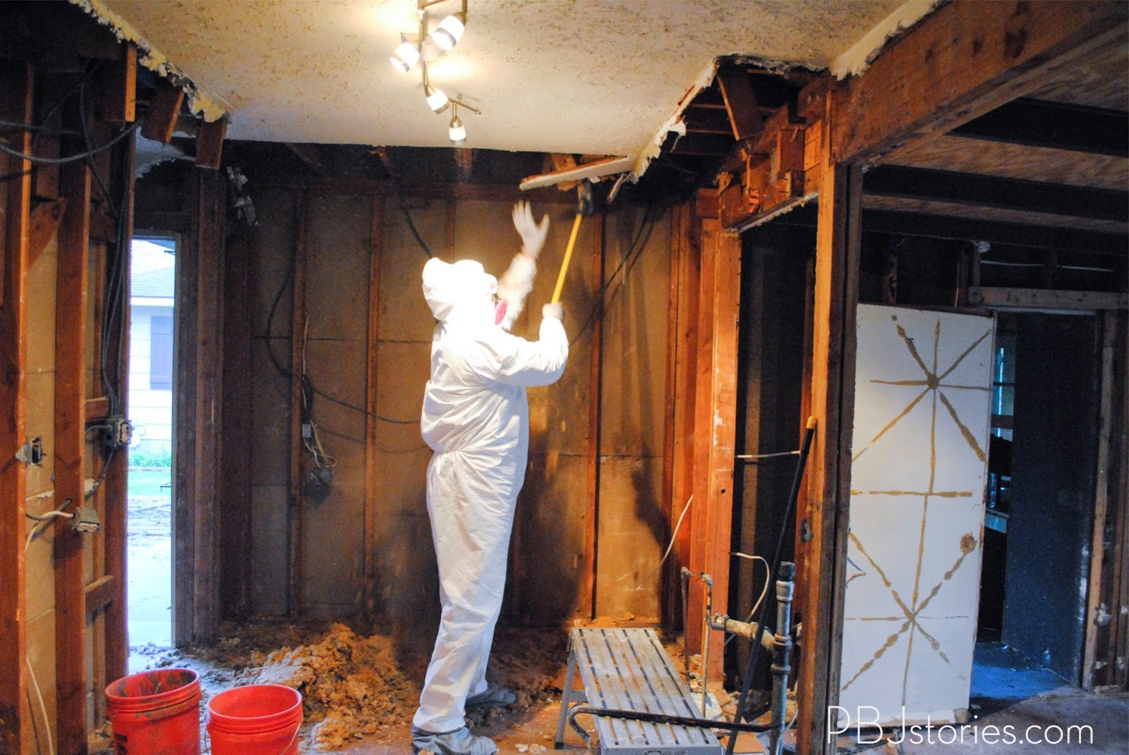 taking down a ceiling | PBJstories.com