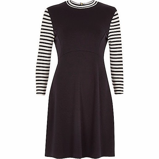 striped sleeve navy dress
