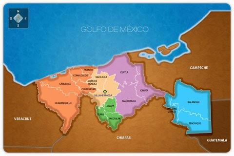 Tabasco Geografa poltica del Estado