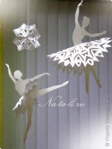 Снежинки и балеринки из бумаги. Шаблоны для вырезания.