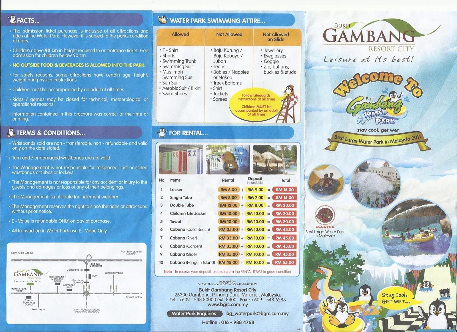 BUKIT GAMBANG RESORT MENGIKUT PAMPLETE YANG DIBERI PADA JUN 2013
