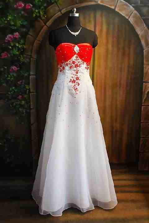 She fashion club strapless red and white wedding dresses