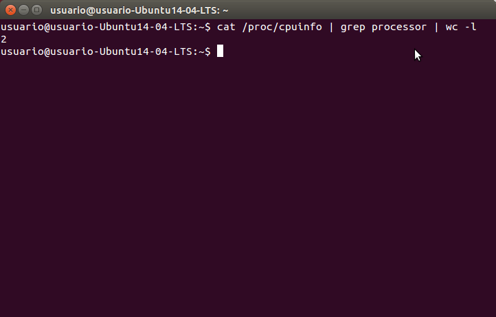 cat  proc cpuinfo | grep processor | wc -l