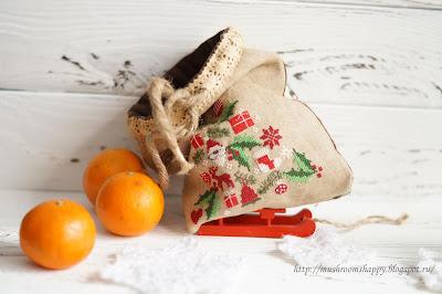 мандарины, мешок с подарками, Новый год