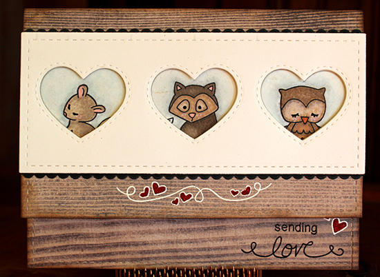 Sending Love Card by Larissa Heskett | Cute animal stamps by Newton's Nook Designs