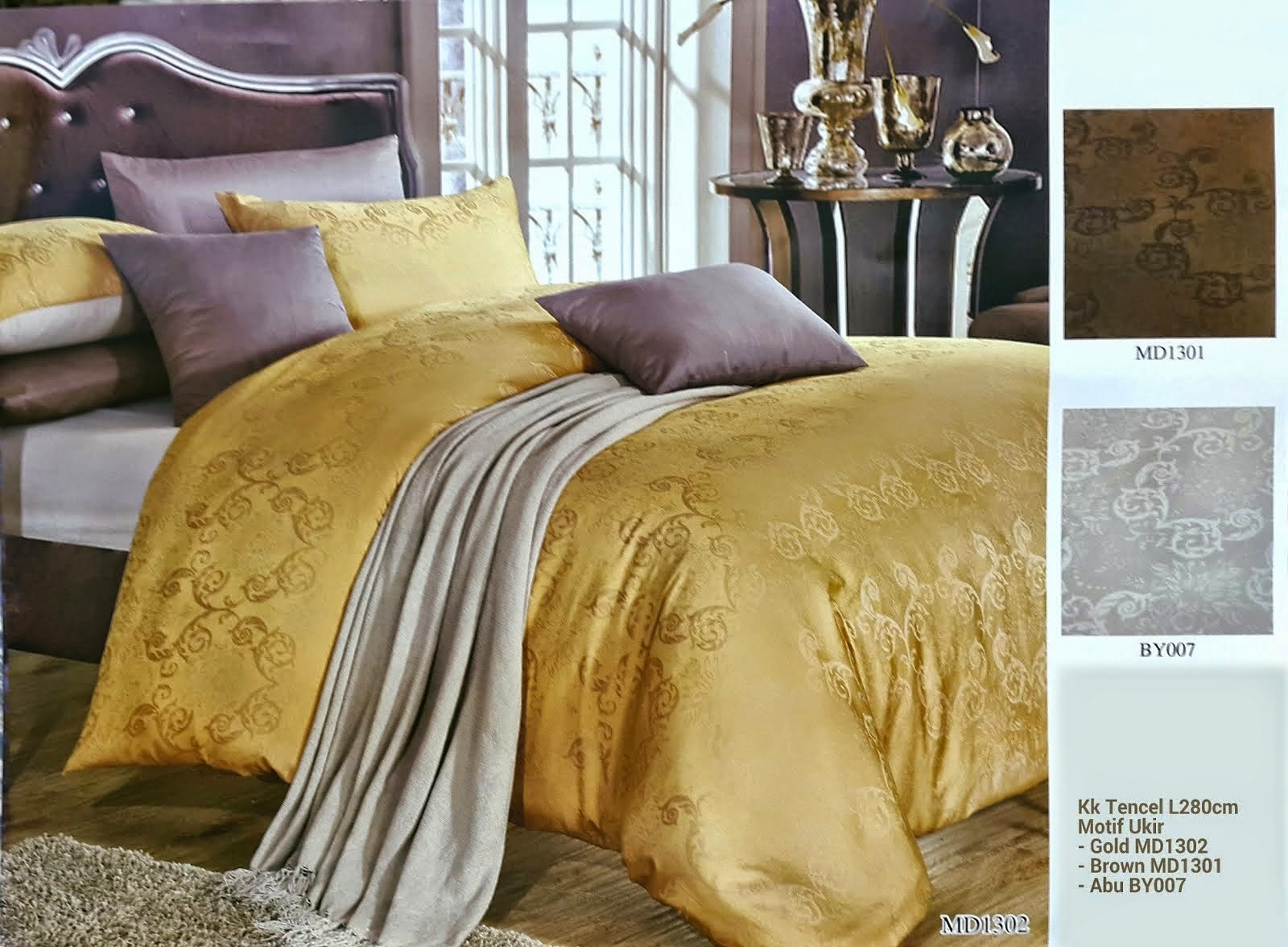 Sprei King Koil Tencel Motif Ukir Gold Brown
