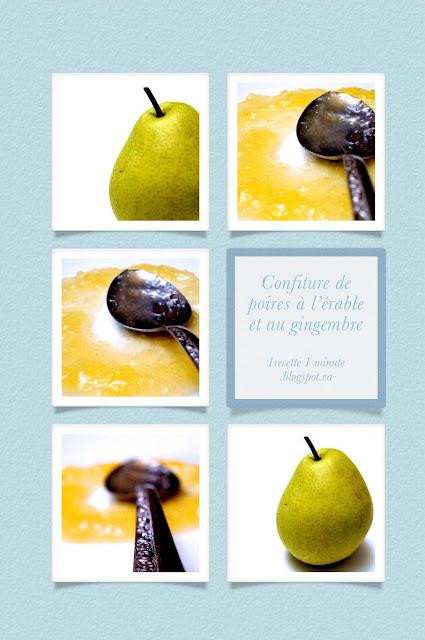 1 recette de confiture confiture de poires au sirop d rable et au gingembre. Black Bedroom Furniture Sets. Home Design Ideas