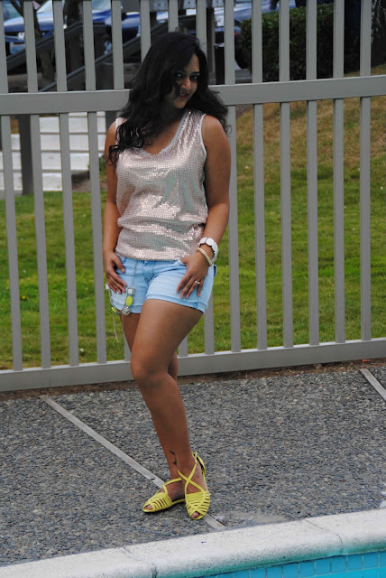 summer shorts, denim shorts for a party, sequined top, green sandals, white glasses, ananya kiran, shorts