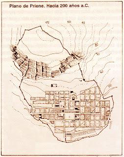 Ciudad de Priene. Grecia. Urbanismo en Grecia. Desarrollo de la ciudad en la grecia clasica. Hipodamo de Mileto y el urbanismo griego.