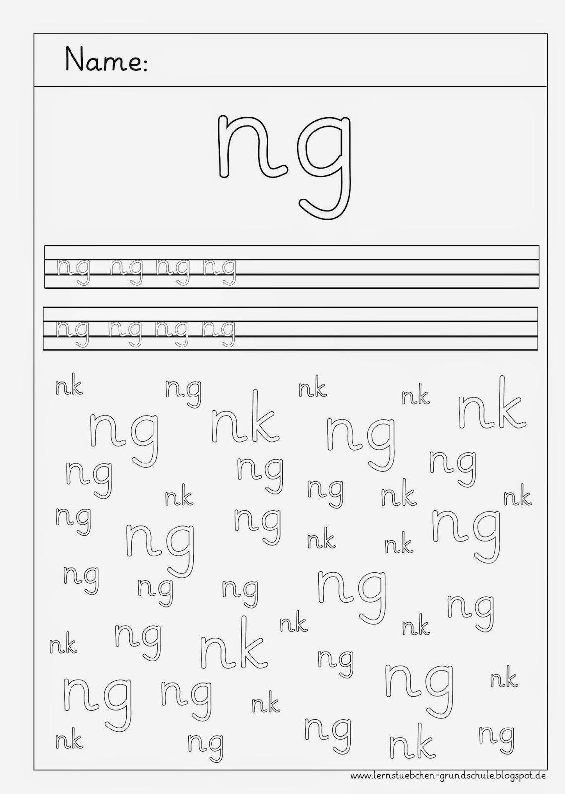 Arbeitsblätter Zu Nk : Lernstübchen schreibblätter zu ng wörtern