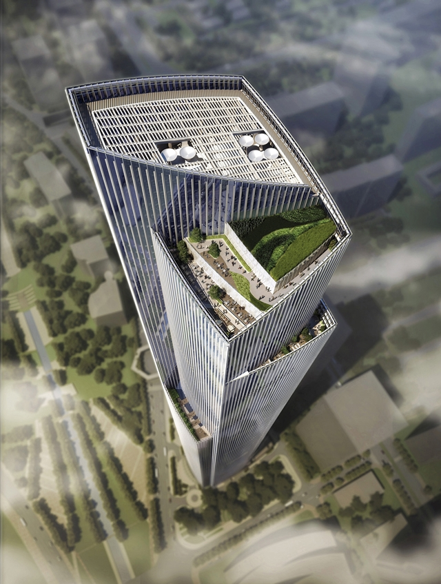 Picture of rooftop terraces on The Chow Tai Fook skyscraper
