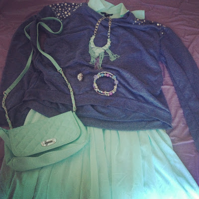 Mint and purple outfit