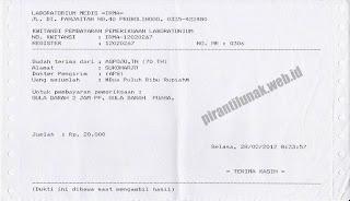 cetak kwitansi pemeriksaan sofware aplikasi laboratorium