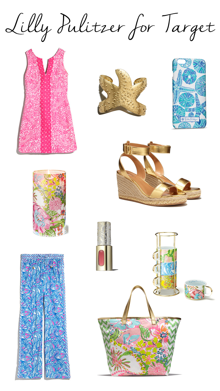 Lilly Pulitzer, Lilly Pulitzer for Target, Target, gold wedges, palazzo pants, shift dress