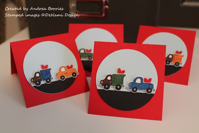 "3"" x 3"" red Valentine cards with images of dump trucks and pick-up trucks carrying hearts."