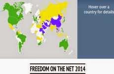 Libertad en internet 2014: mapa interactivo que muestra los niveles de libertad en la red de cada país