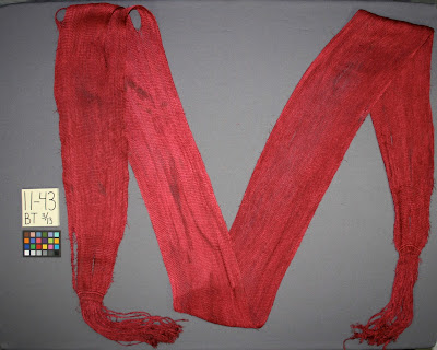 War of 1812 sash, dating of an artifact, collection care, Buffalo History Museum, art conservator, textile conservation