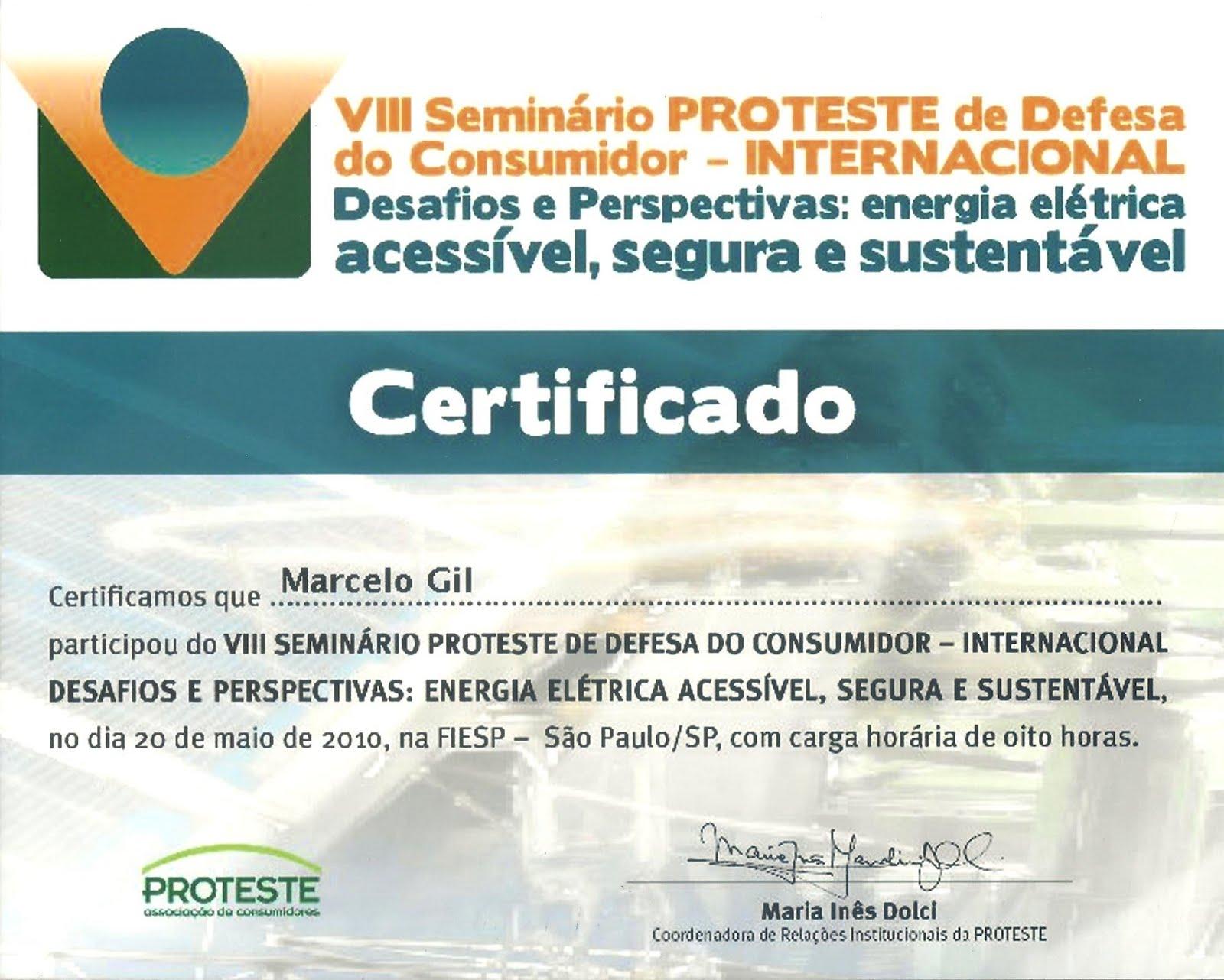 CERTIFICADO DE PARTICIPAÇÃO EM SEMINÁRIO DA ASSOCIAÇÃO BRASILEIRA DE DEFESA DO CONSUMIDOR - 2010