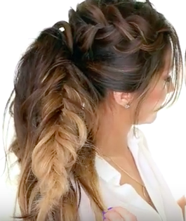 Nice Braided Hairstyle For Long Hair Tutorial - The Mohawk Pony Tail Braid!